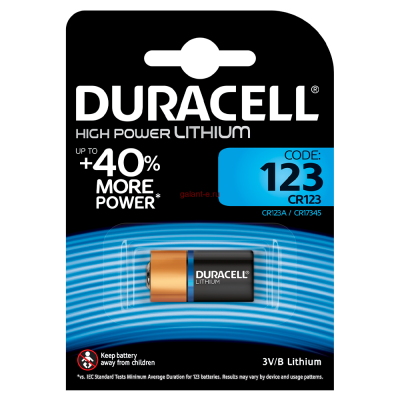 Элемент питания DURACELL HIGH POWER LITHIUM CR123A BL1